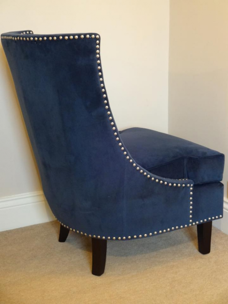 Midnight Blue Velvet Studded Chair Interior Designs Sussex